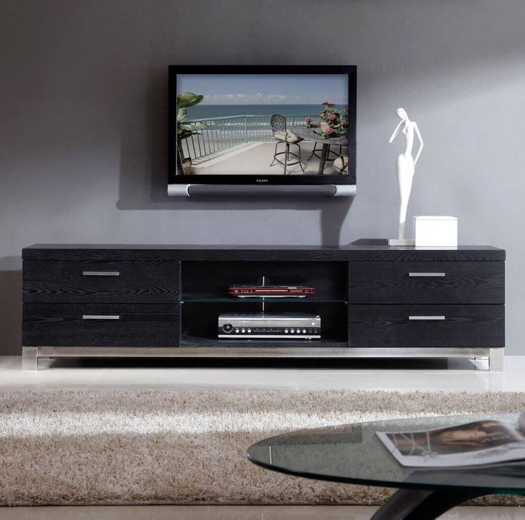 Low Profile Contemporary Tv Stands For Most Up To Date Furniture: Solid Contemporary Modern Tv Stand Featuring 4 Wooden (View 19 of 20)