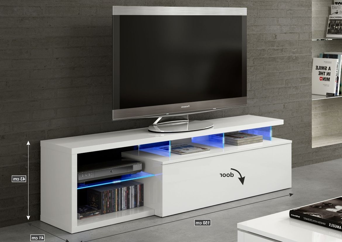 Lumin White Soft Gloss Tv Cabinet Entertainment Unit 026630Bo Within Well Known 150Cm Tv Units (View 14 of 20)