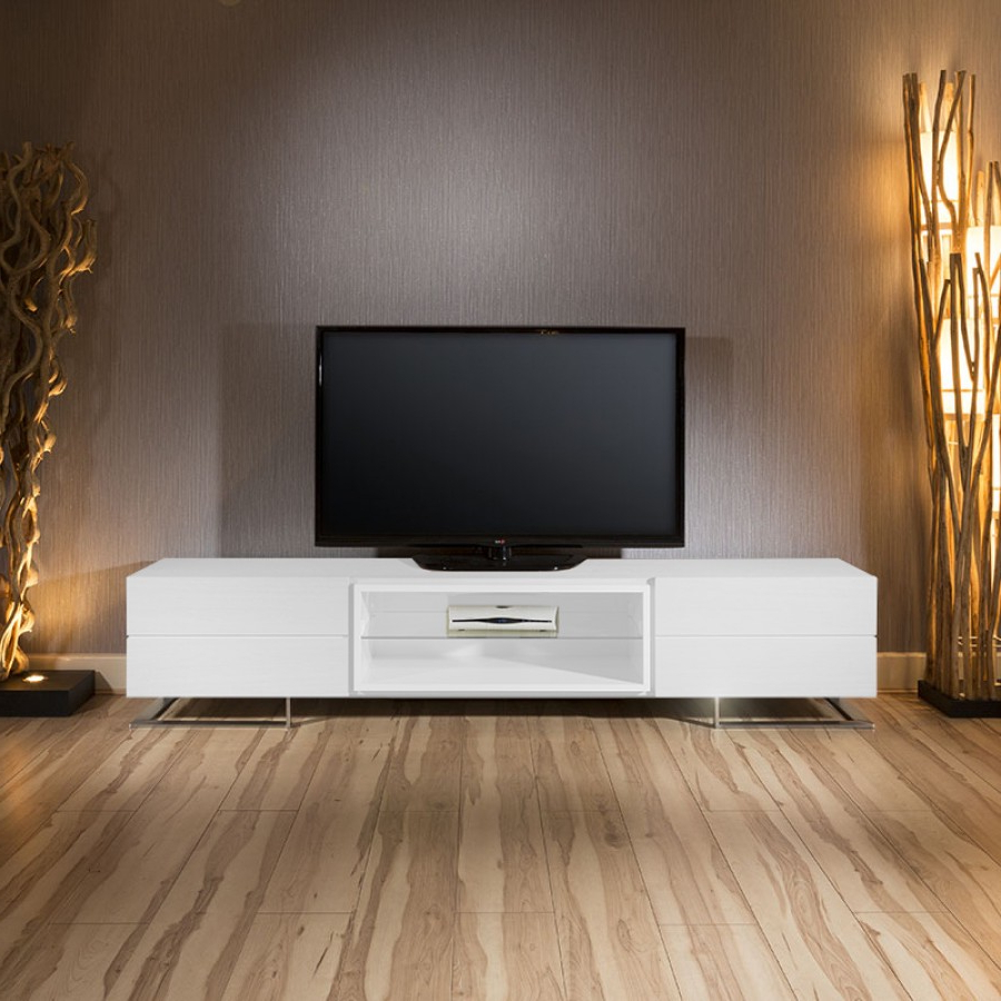 Luxury Gual Modern Wide Tv Cabinet / Stand White Textured Finish Throughout Most Popular Wide Tv Cabinets (Gallery 6 of 20)