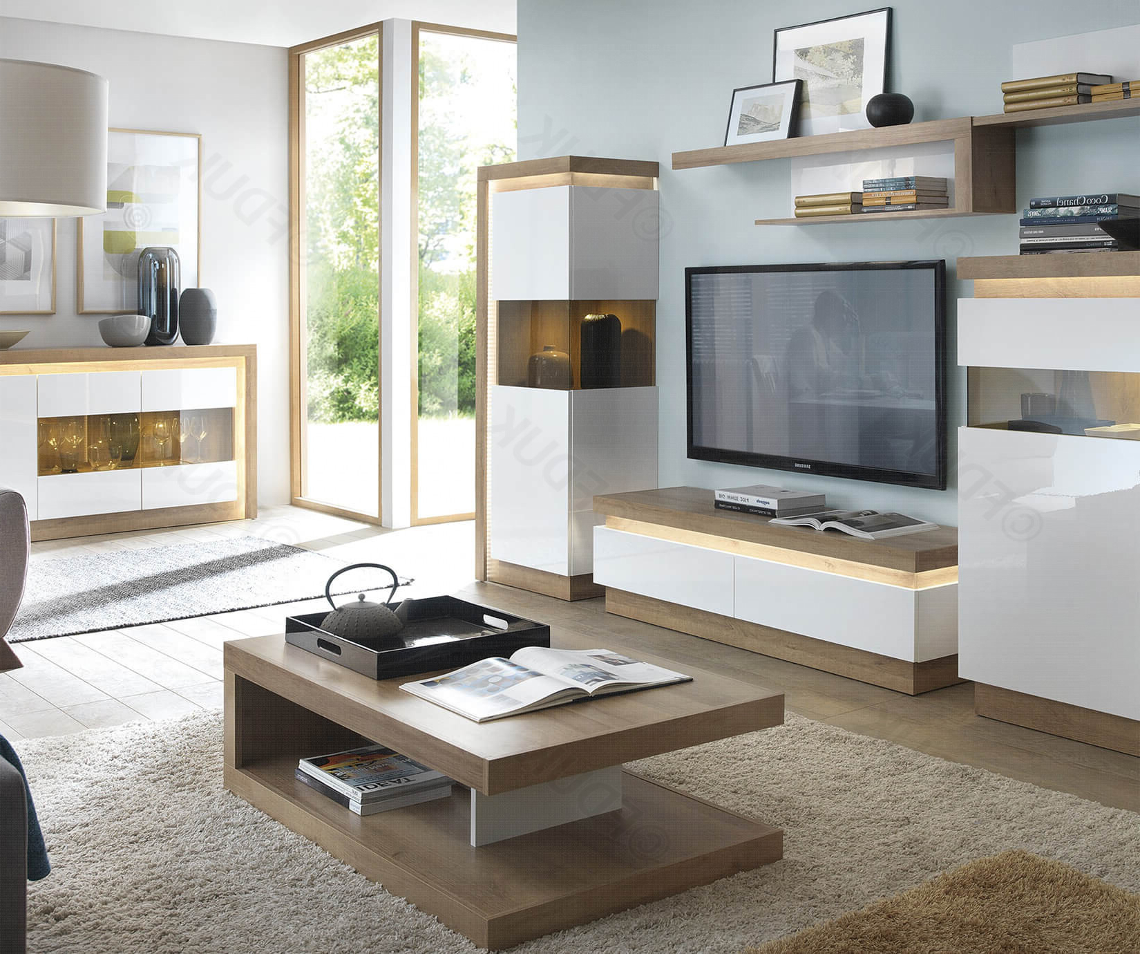 Lyon Riviera Oak And White High Gloss 2 Drawer Tv Cabinet With Regard To Latest Tv Cabinets And Coffee Table Sets (Gallery 16 of 20)
