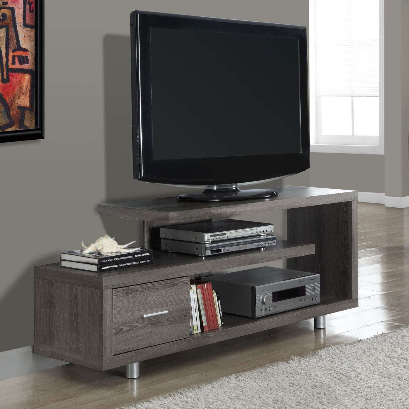 "Maddy 60 Inch Tv Stands For Recent Monarch Tv Stand White With 1 Drawer For Tvs Up To 47""l – Walmart (Gallery 12 of 20)"