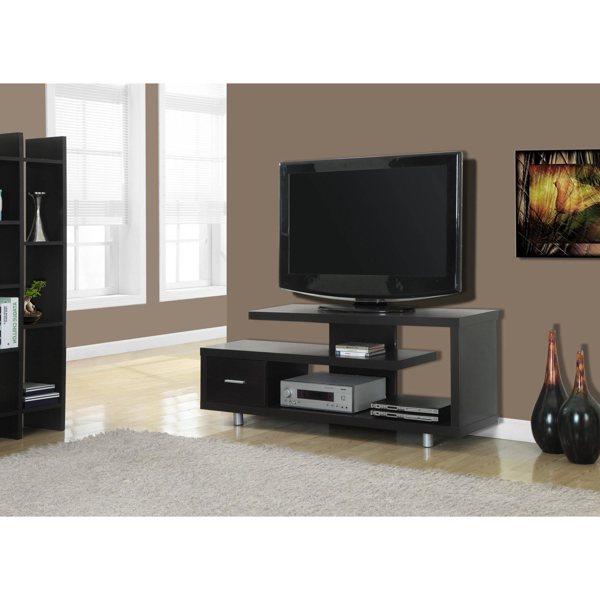 "Maddy 60 Inch Tv Stands Intended For Most Recent Monarch Tv Stand White With 1 Drawer For Tvs Up To 47""l – Walmart (View 5 of 20)"