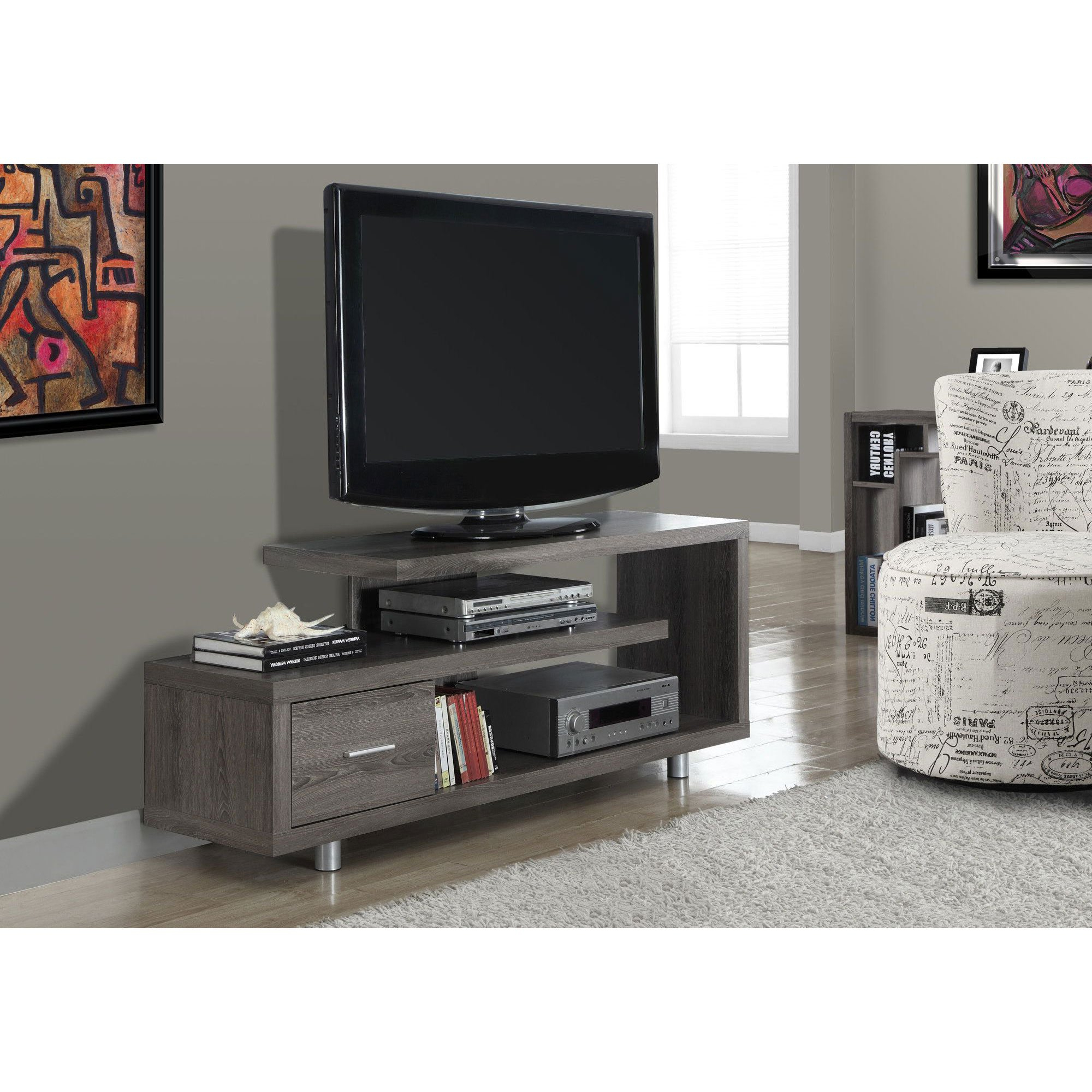 "Maddy 60 Inch Tv Stands With Most Popular Monarch Tv Stand White With 1 Drawer For Tvs Up To 47""l – Walmart (View 7 of 20)"