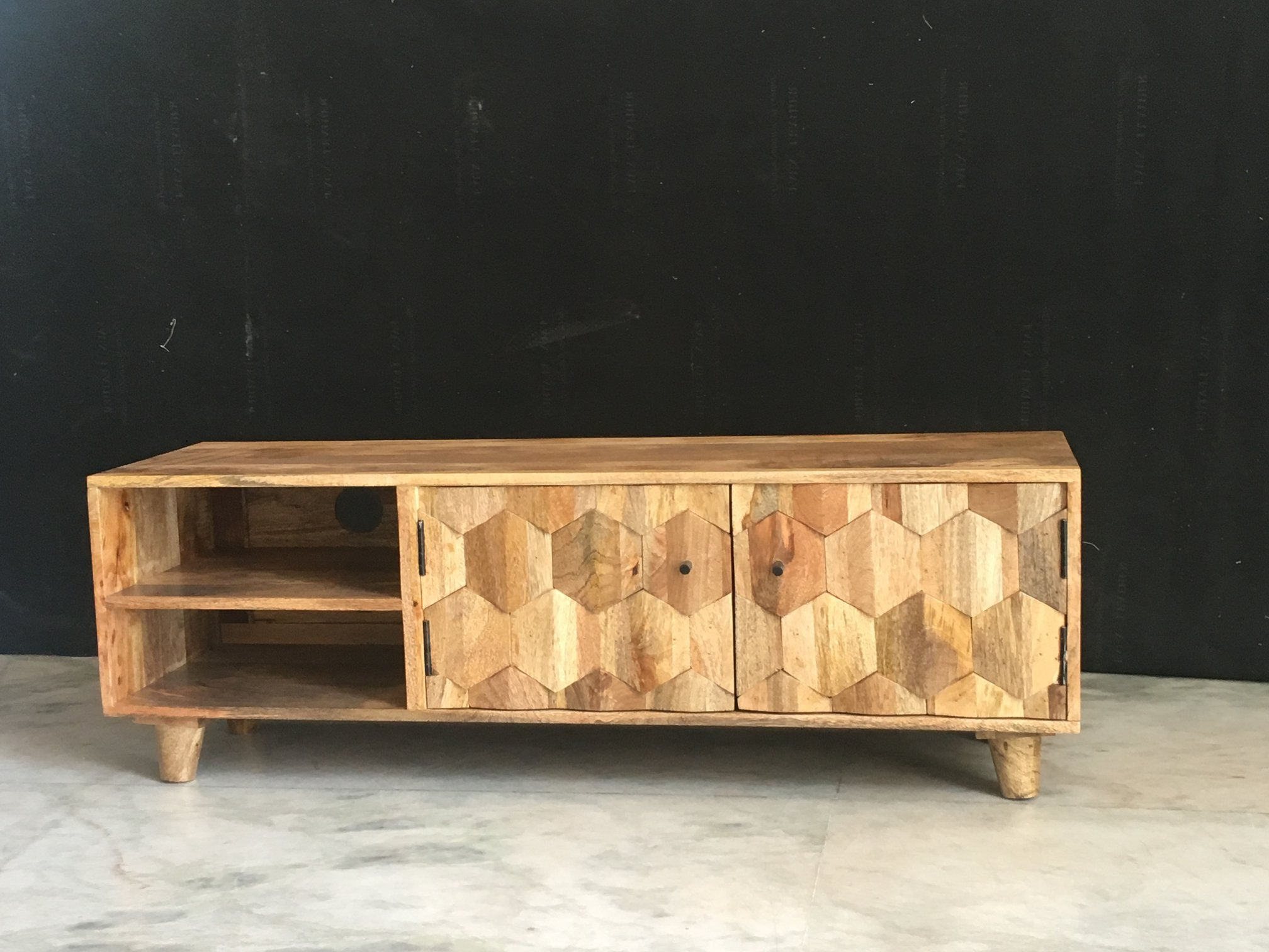Mango Tv Units Throughout Widely Used Light Mango Wood Tv Stand / Media Unit With Hexagonal Patterns (View 14 of 20)