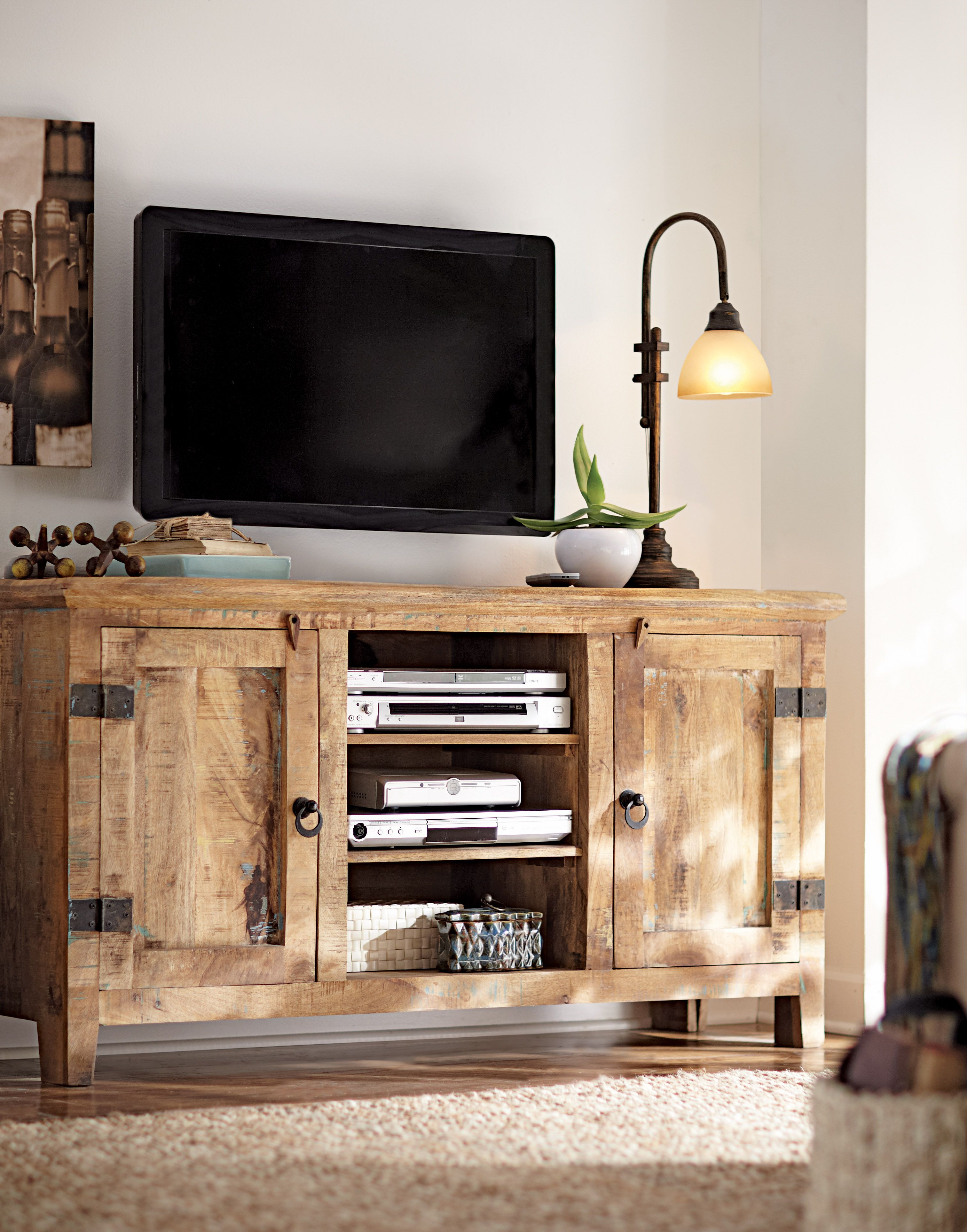 Mango Wood Tv Cabinets Intended For Most Recent Got To Love A Weathered Mango Wood Tv Stand (View 8 of 20)