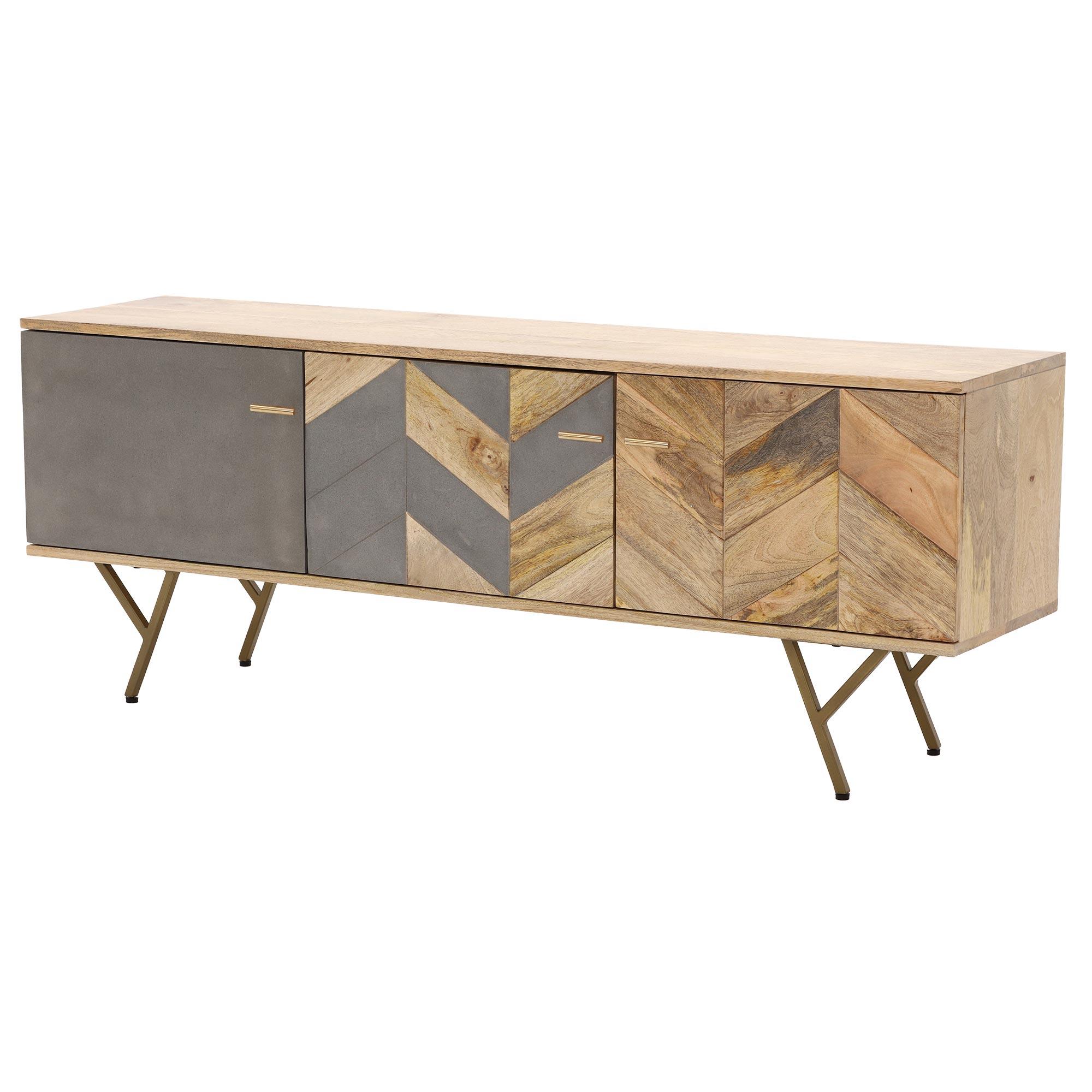 Mango Wood Tv Cabinets Regarding Favorite Kerala Tv Cabinet, Mango Wood, Concrete And Brass (View 4 of 20)