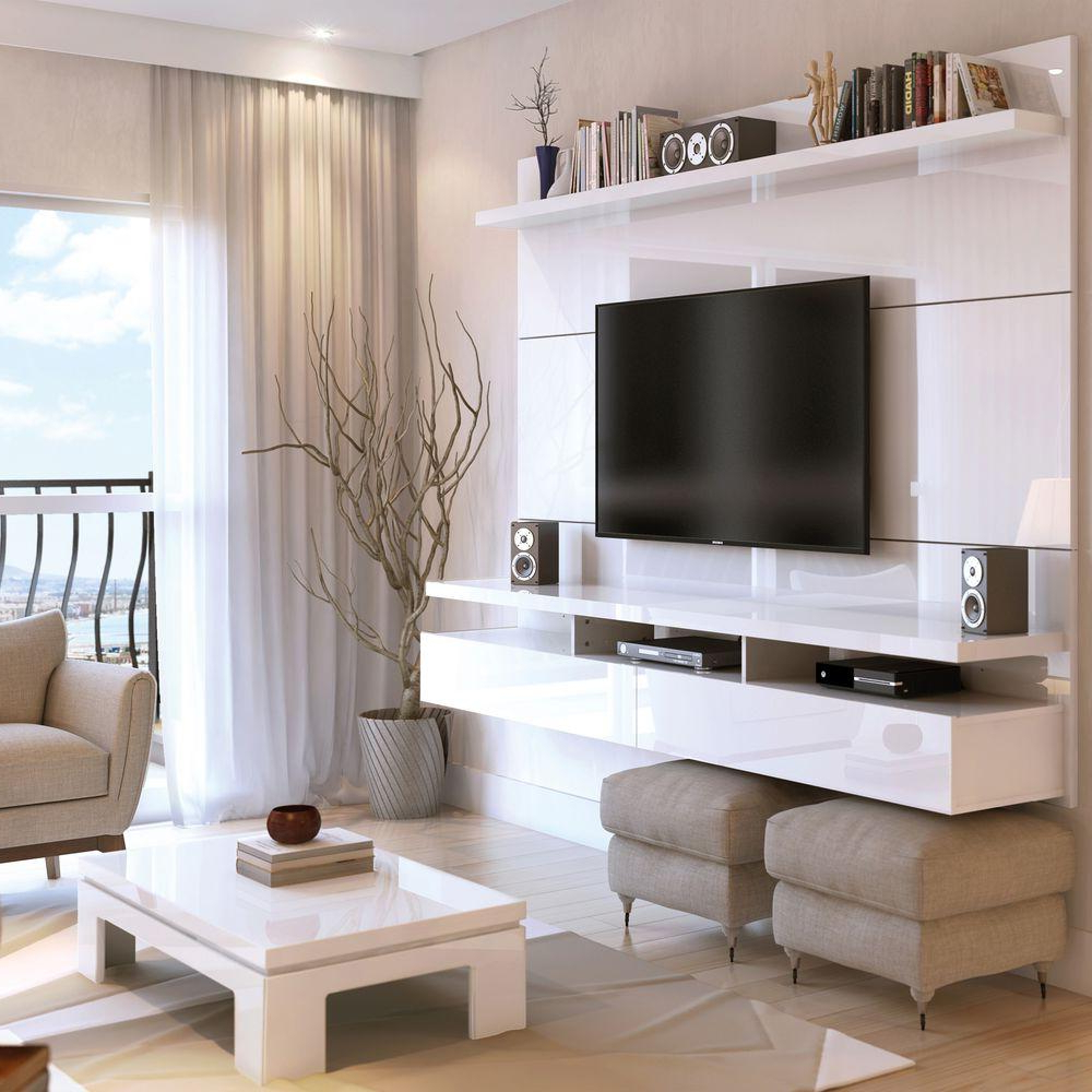 Manhattan Comfort City White Gloss Entertainment Center 25152 – The With Favorite Shiny Tv Stands (View 10 of 20)