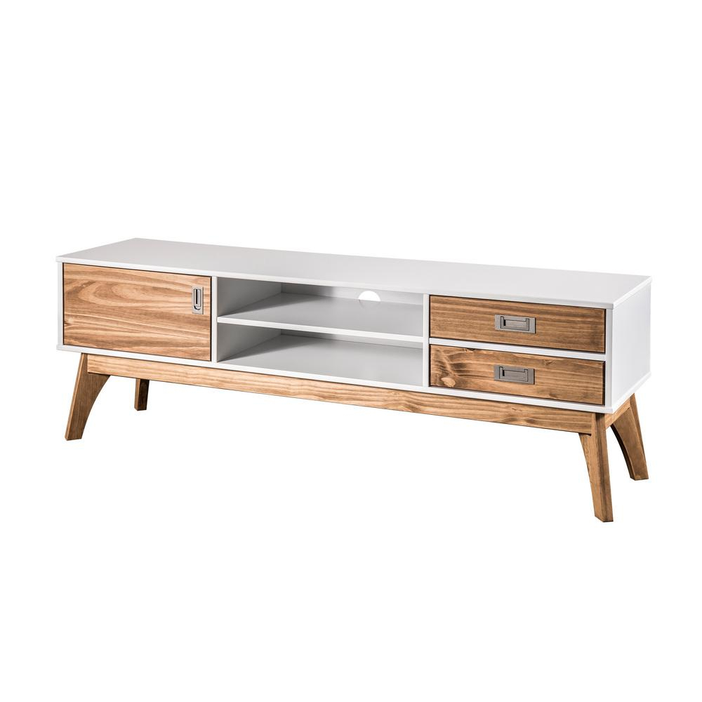 Manhattan Comfort Jackie 59.05 In. White And Natural Wood Tv Stand For Trendy Wood Tv Stands (Gallery 9 of 20)