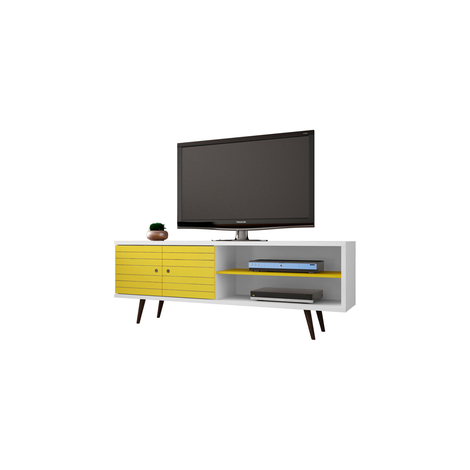 Manhattan Comfort Liberty 63 Inch Tv Stand With 3 Shelves And 2 Throughout Trendy Kai 63 Inch Tv Stands (Gallery 7 of 20)