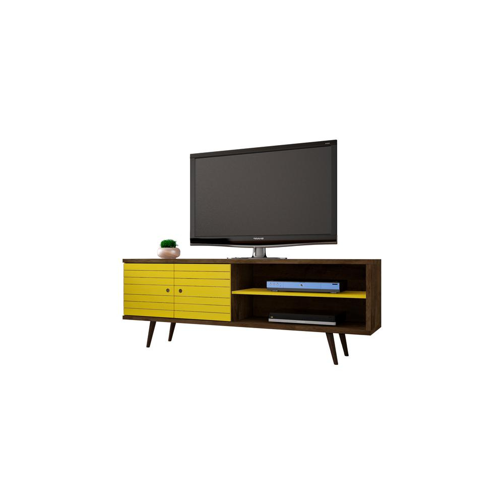 Manhattan Comfort Liberty Rustic Brown And Yellow Entertainment Inside Most Recent Yellow Tv Stands (Gallery 11 of 20)