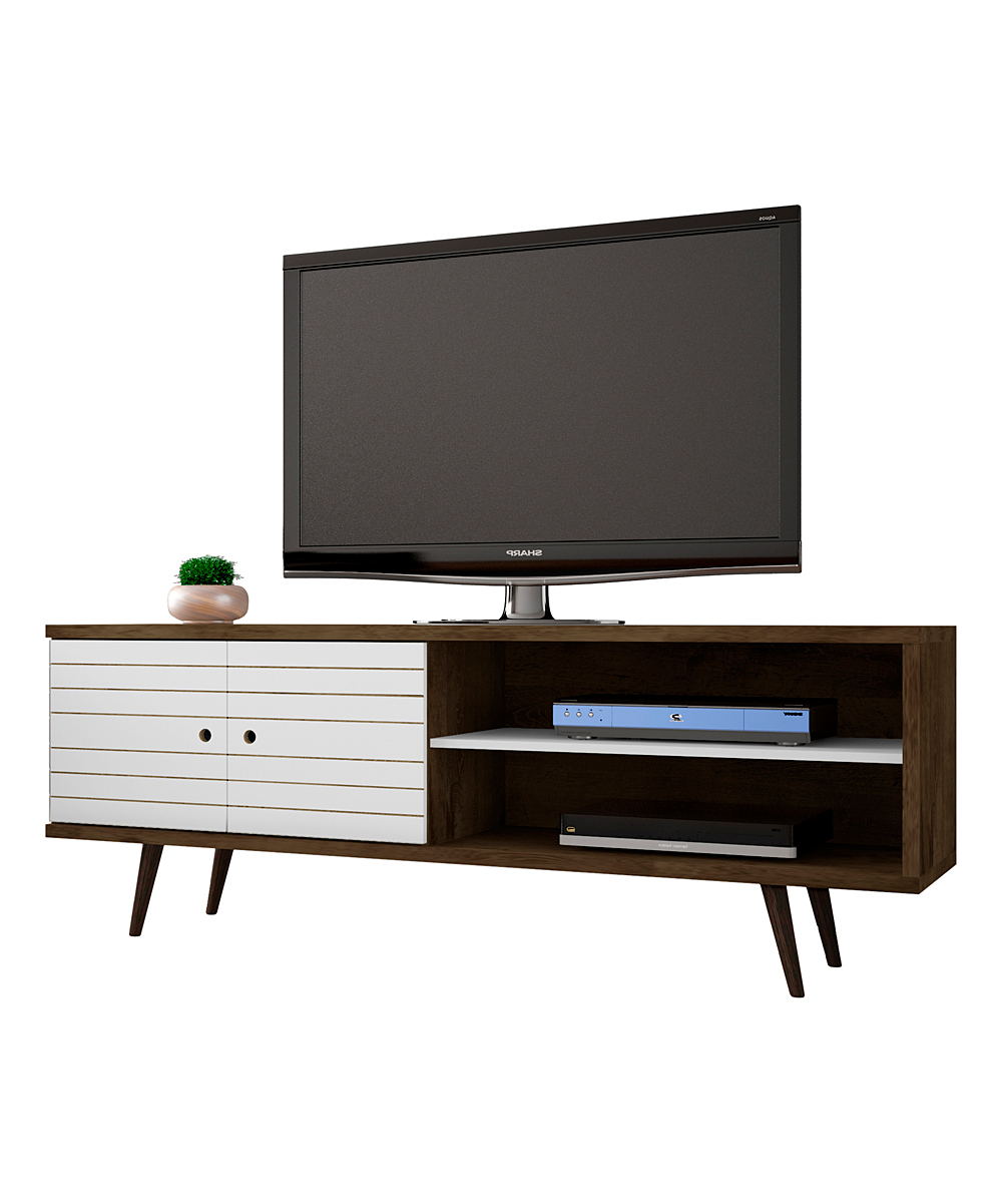 Manhattan Comfort Rustic Brown & White Liberty Three Shelf Tv Stand For Fashionable White Rustic Tv Stands (View 7 of 20)
