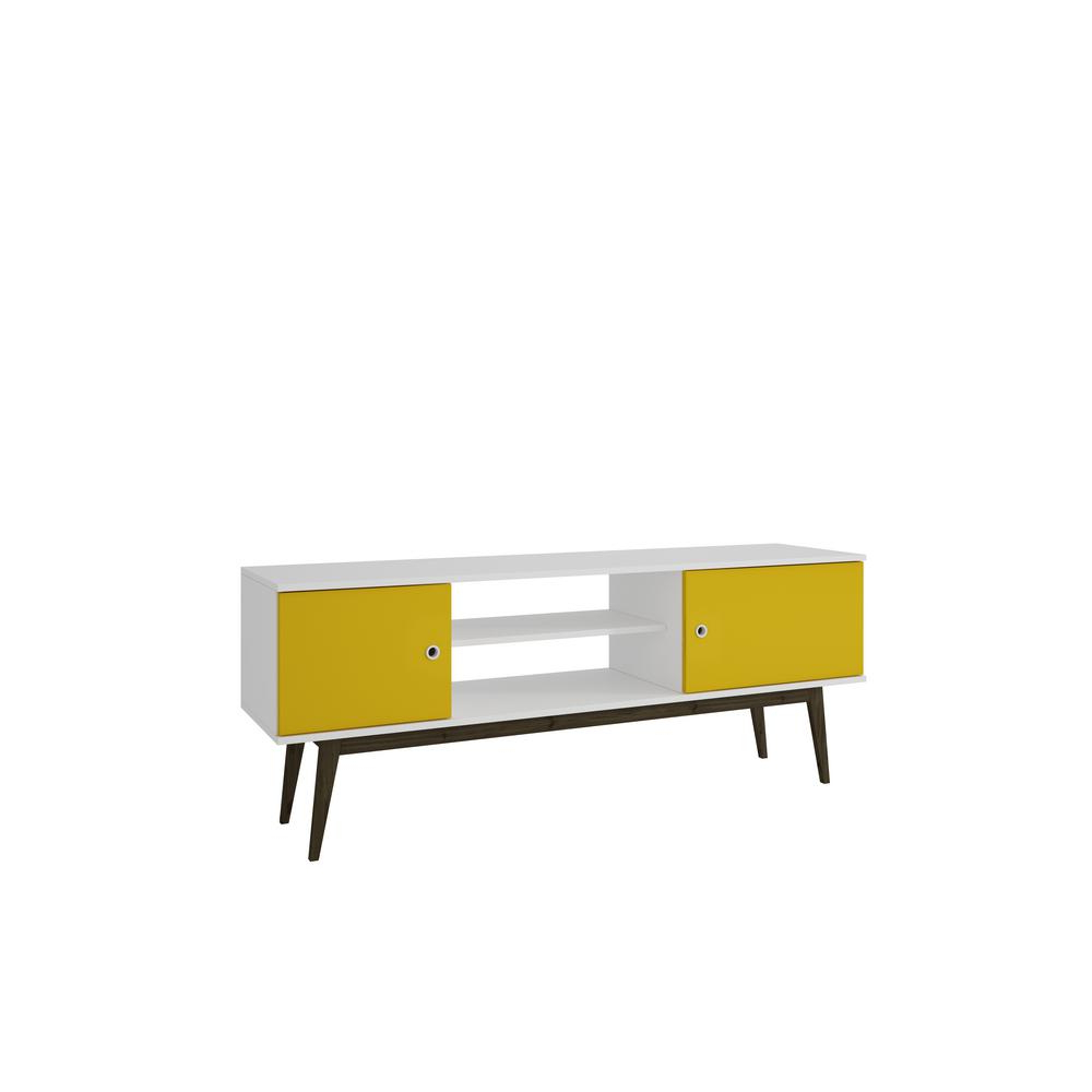 Manhattan Comfort Salem White And Yellow 50 Disc Capacity Tv Stand Pertaining To Most Up To Date Yellow Tv Stands (View 7 of 20)