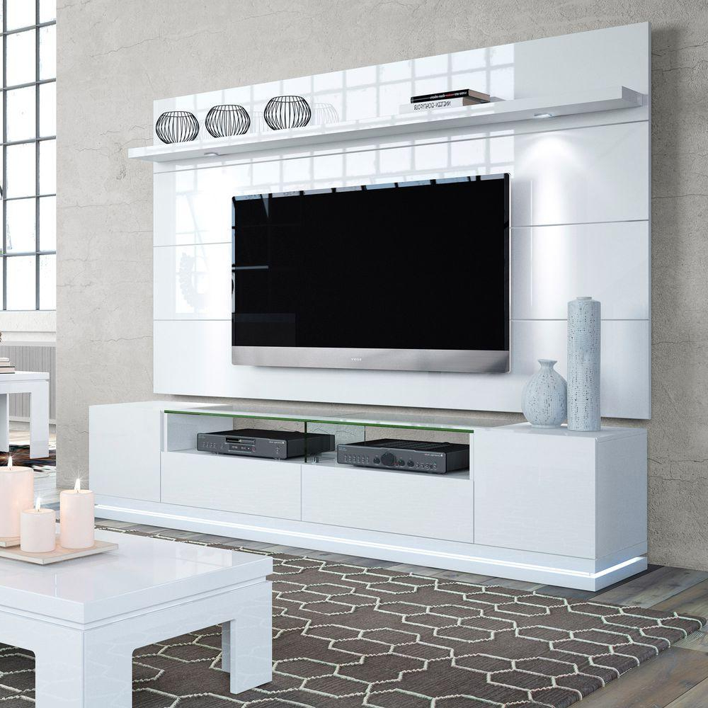 Manhattan Comfort Vanderbilt White Gloss Entertainment Center 2 Intended For Favorite Shiny Tv Stands (View 1 of 20)