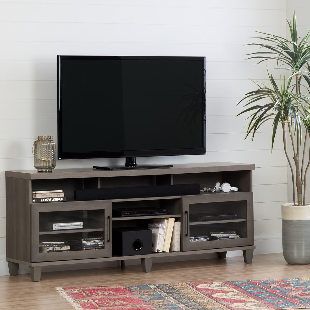 Maple Tv Stands For Flat Screens Regarding Well Liked South Shore Adrian Gray Maple Tv Stand For Tvs Up To 75 In (View 12 of 20)