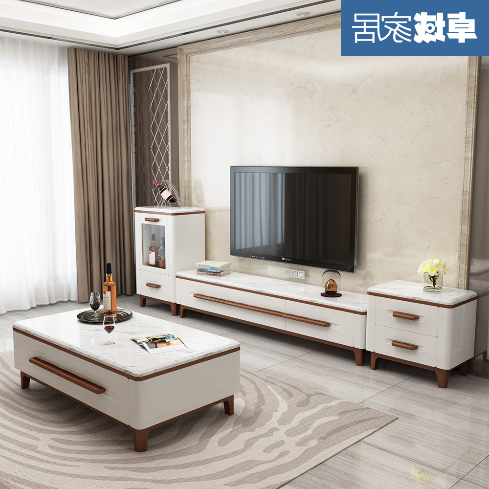 Marble Coffee Table With Natural Size Apartment Living Room Simple Modern Nordic Solid Wood Tv Cabinet Combination Set Within Popular Tv Stand Coffee Table Sets (View 15 of 20)