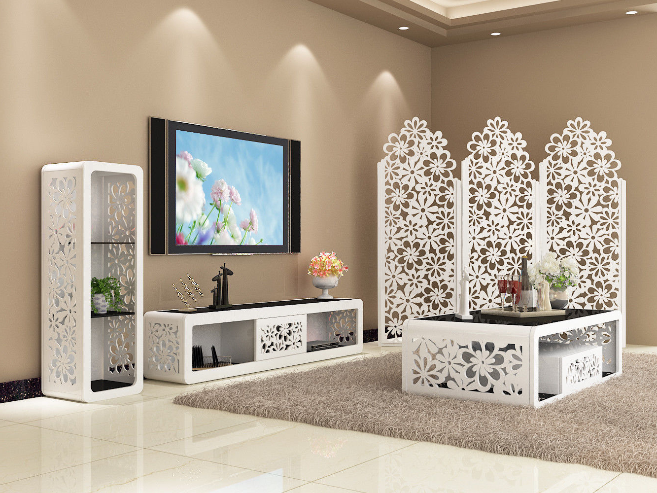 Matching Tv Unit And Coffee Tables Throughout Latest Fiore Series Of Coffee Table Nest Of Set Tv Unit Storage Cabinet (View 18 of 20)