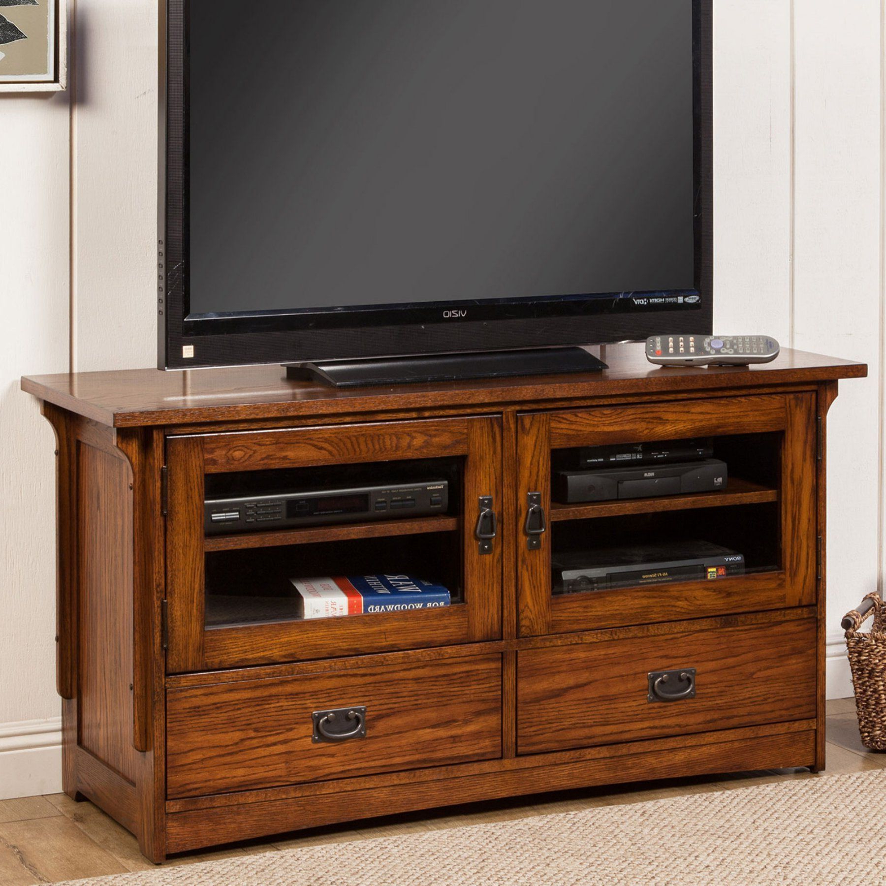 Medium Oak Tv Stands Flat Screen Furniture Of America Daimon Pertaining To Trendy Industrial Corner Tv Stands (View 16 of 20)