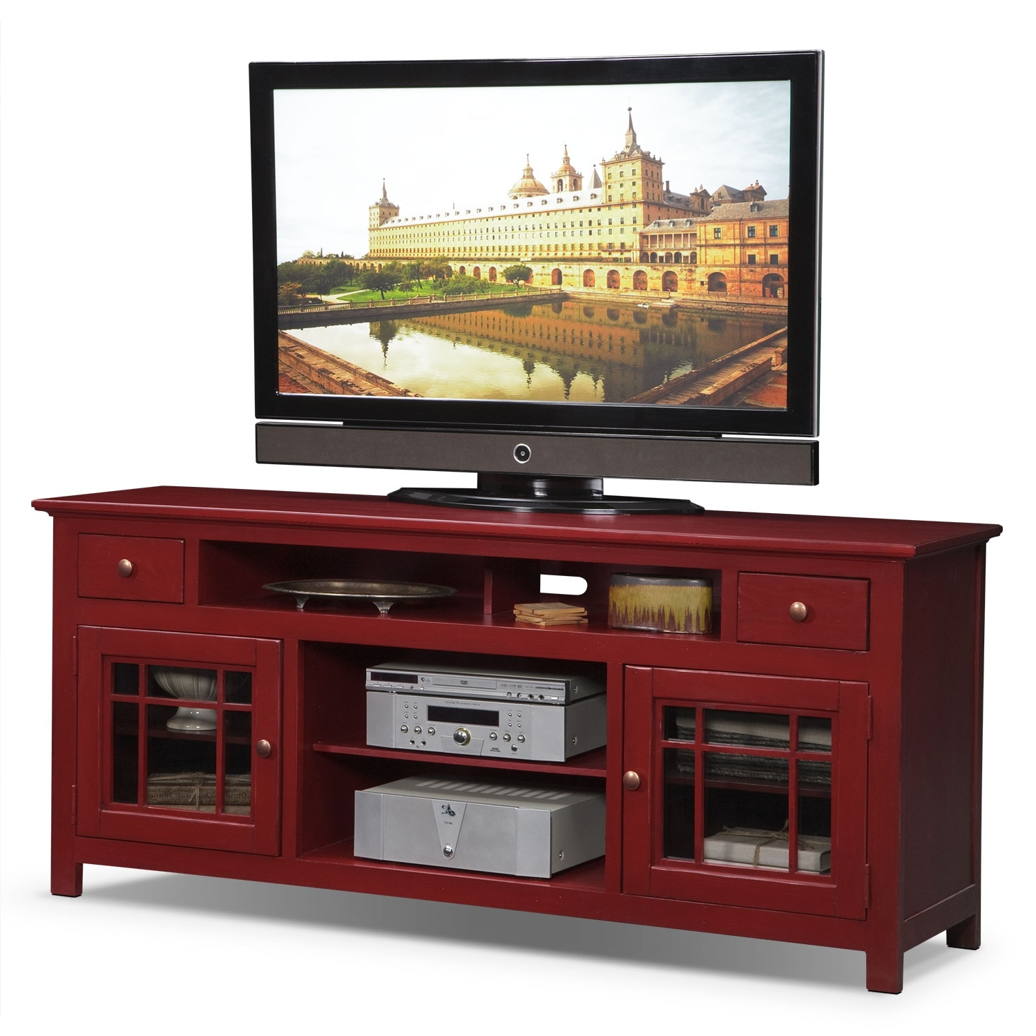 "Merrick 74"" Tv Stand – Red (Gallery 18 of 20)"