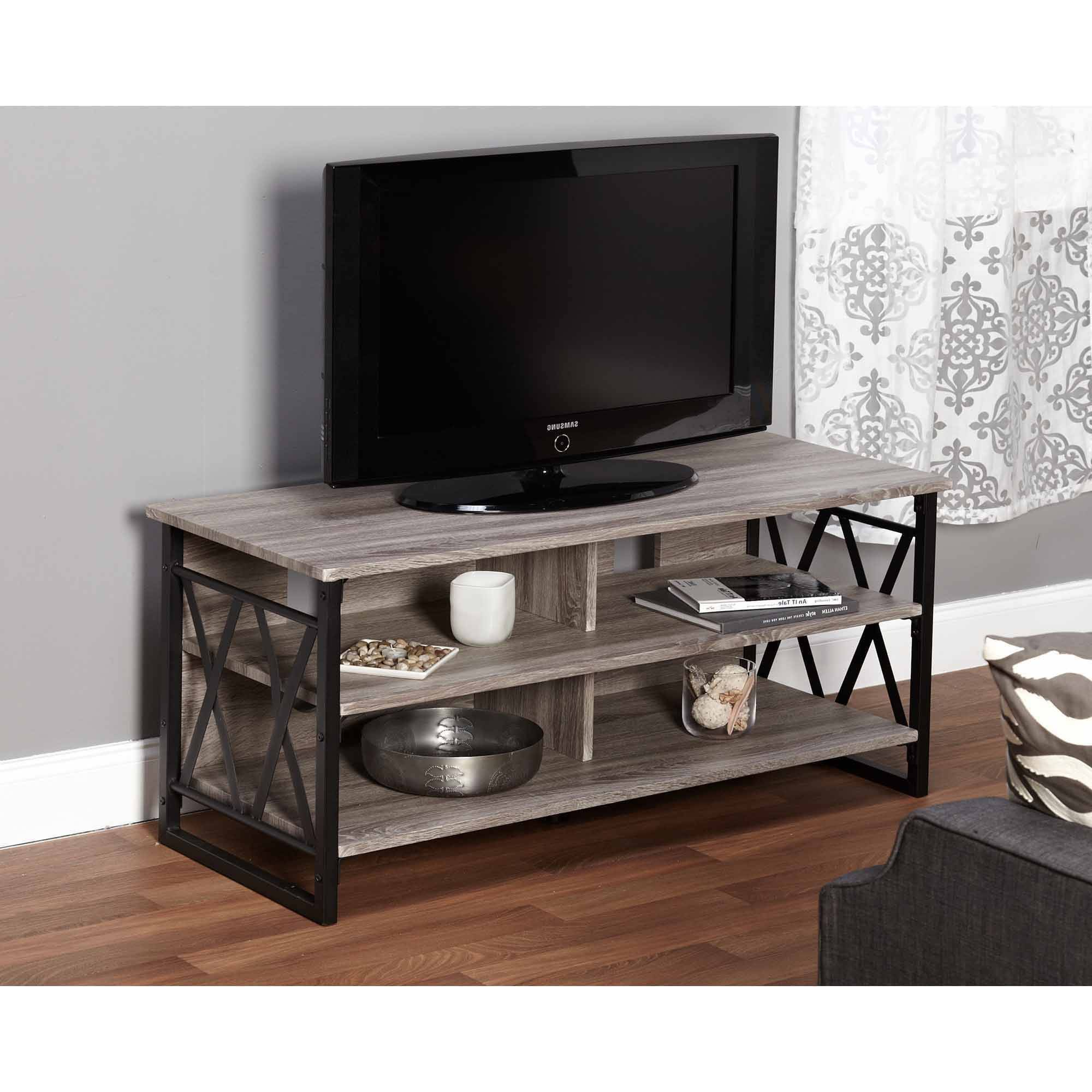 Metal Tv Stand With Wheels Glass And Walmart Industrial Media With Latest Industrial Metal Tv Stands (View 10 of 20)