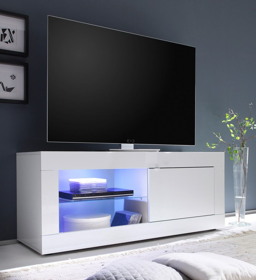 Meuble Tv Design 1 Porte Avec Éclairage Coloris Blanc Agathe In 2019 Pertaining To Most Recent Small White Tv Stands (View 7 of 20)