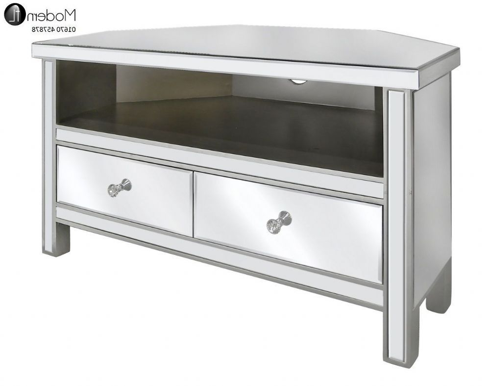 Mirrored Corner Tv Stand With 2 Drawers F 186 Product For Newest Mirrored Tv Cabinets (View 6 of 20)