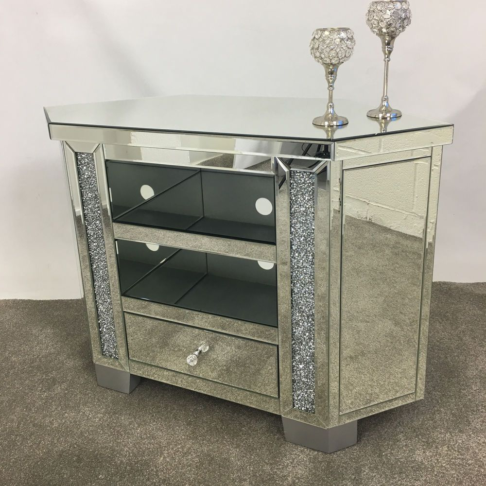 Mirrored Furniture Tv Unit With Most Popular Sparkly Tall Venetian Mirrored Glass Diamond Crystal Corner Tv (View 13 of 20)
