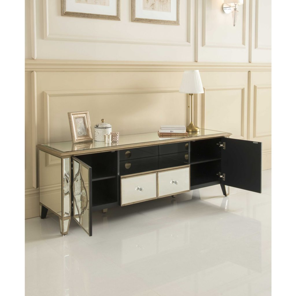 Mirrored Tv Cabinets Furniture For Best And Newest Sassari Mirrored Tv Cabinet Glass Furniture Mirrored Tv Cabinet In (View 11 of 20)