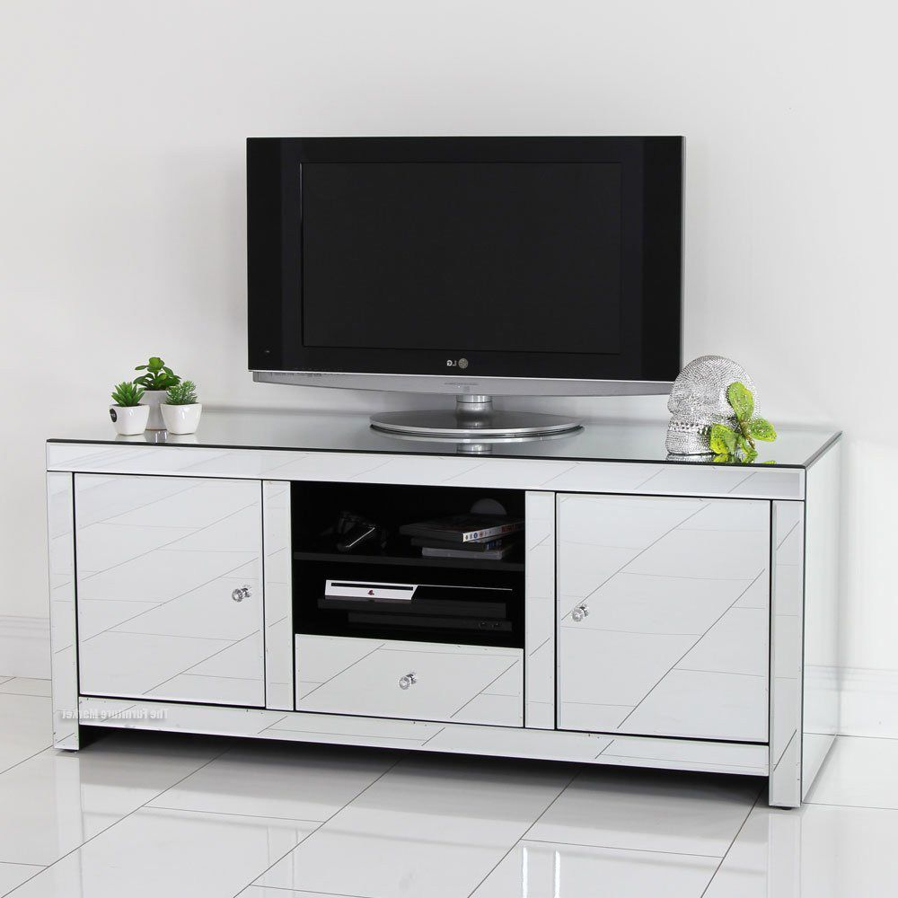 Mirrored Tv Stand Glass Cabinet Contemporary Decor Vintage Unit Throughout Current Mirrored Furniture Tv Unit (Gallery 6 of 20)