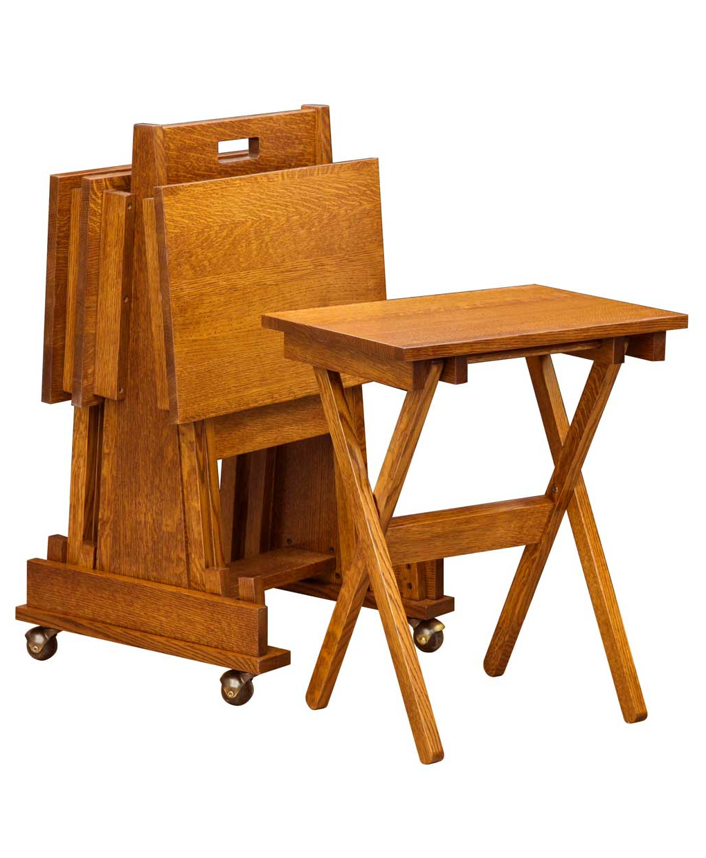 Mission Folding Tv Tray Set – Amish Direct Furniture Inside Favorite Folding Wooden Tv Tray Tables (View 13 of 20)