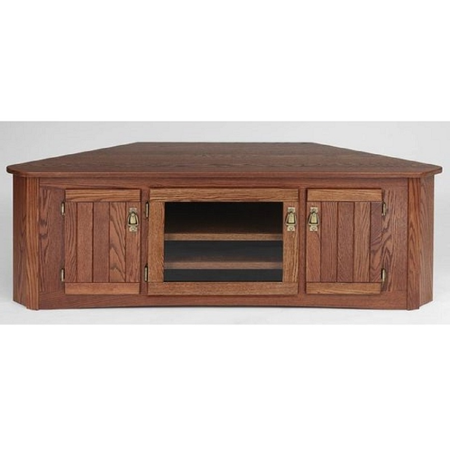 """Mission Style Solid Oak Corner Tv Stand W/glass Door – 64"""" – The Oak Pertaining To Favorite Corner Tv Cabinets With Glass Doors (View 8 of 20)"""