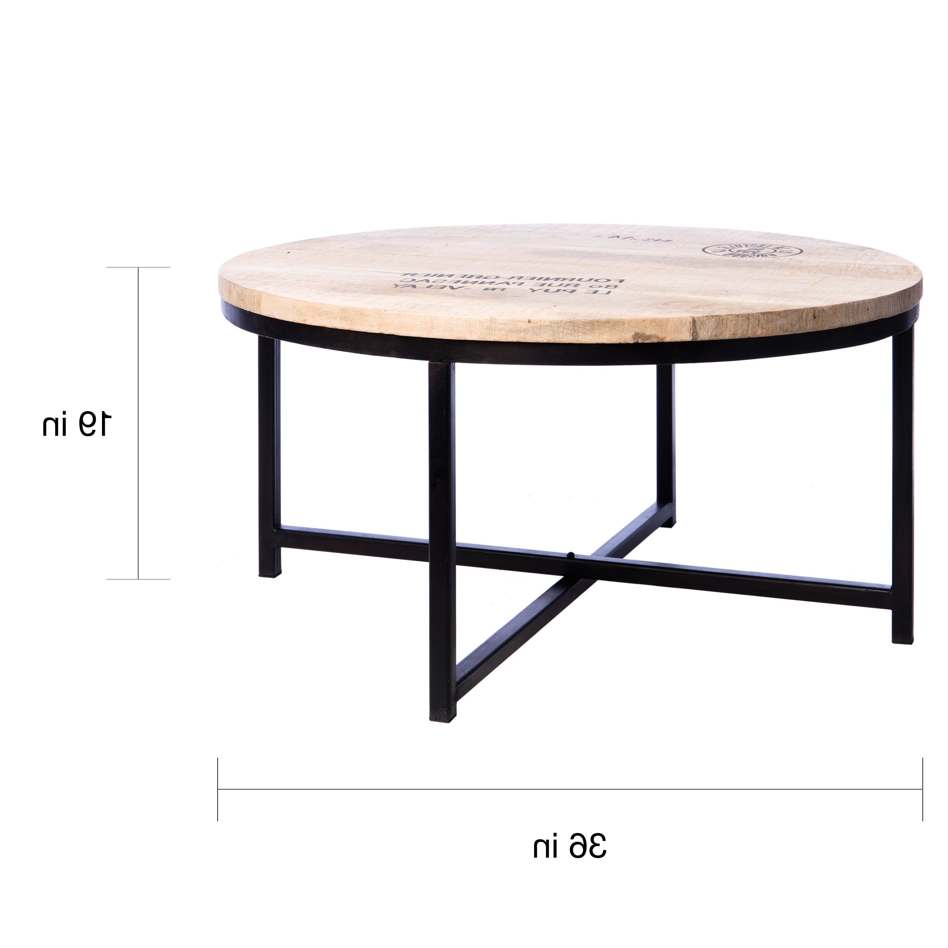 Mix Leather Imprint Metal Frame Console Tables Regarding Most Current Shop Handmade Homemade French Stamped Mango Round Coffee Table (View 9 of 20)