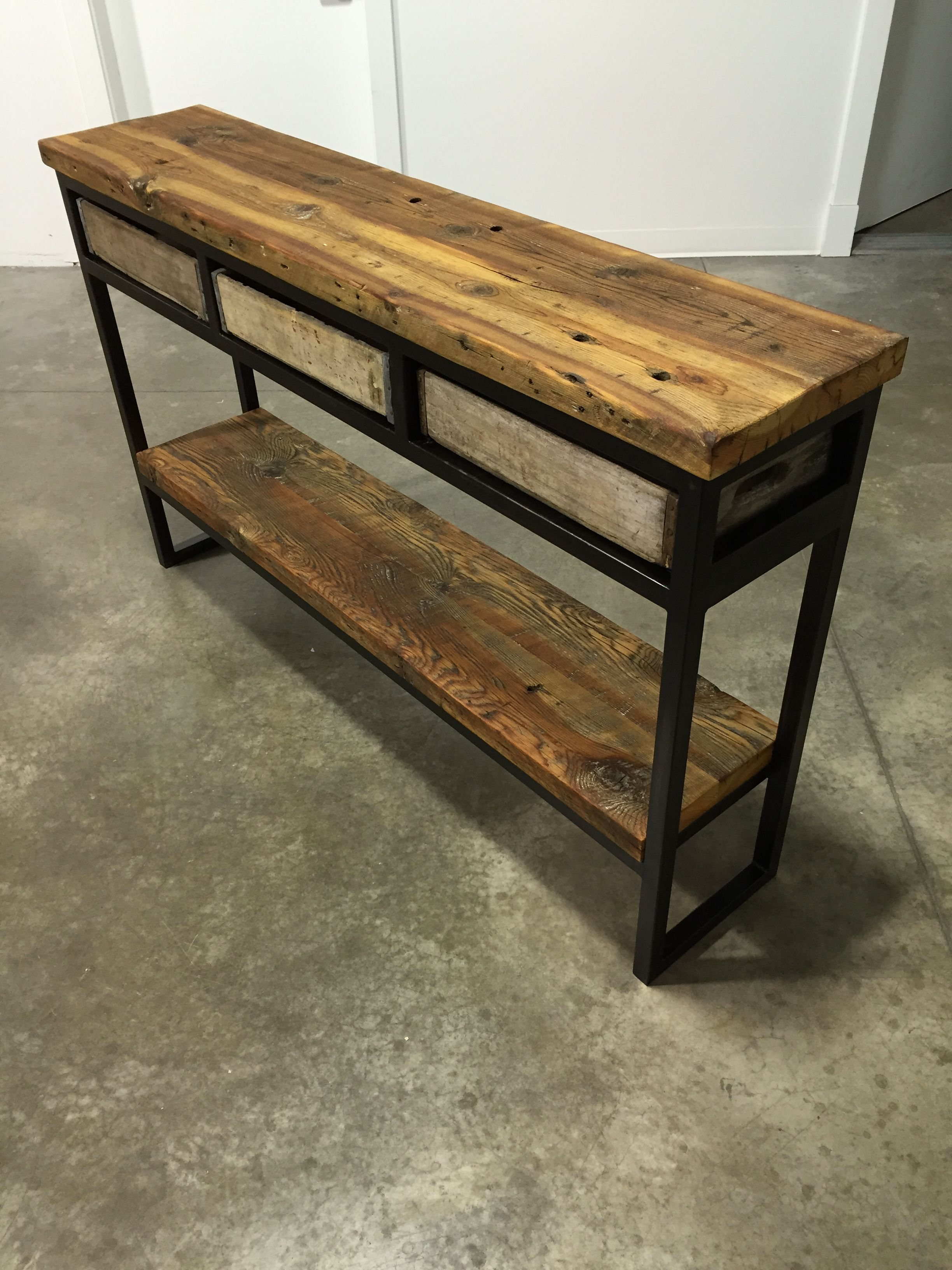 Mix Patina Metal Frame Console Tables Regarding 2017 Vintage Crate Buffet/sofa Table (View 3 of 20)