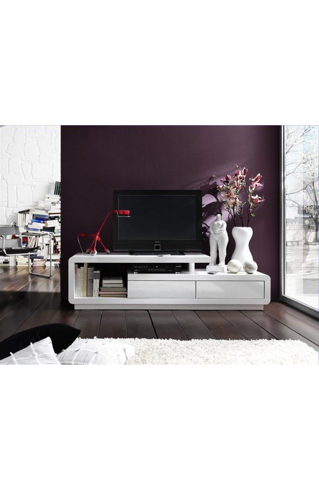 Modanuvo White Gloss Tv Unit Cabinet With Drawers With Regard To Best And Newest High Gloss White Tv Stands (View 6 of 20)