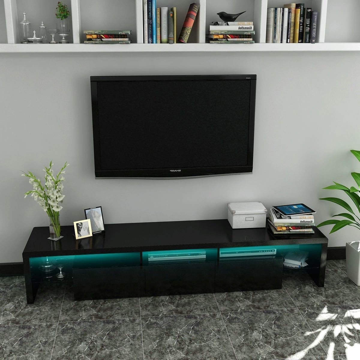 Modern Black High Gloss Tv Stand And Storage Cabinet With Led Lights Throughout Preferred Tv Stands With Led Lights (View 12 of 20)