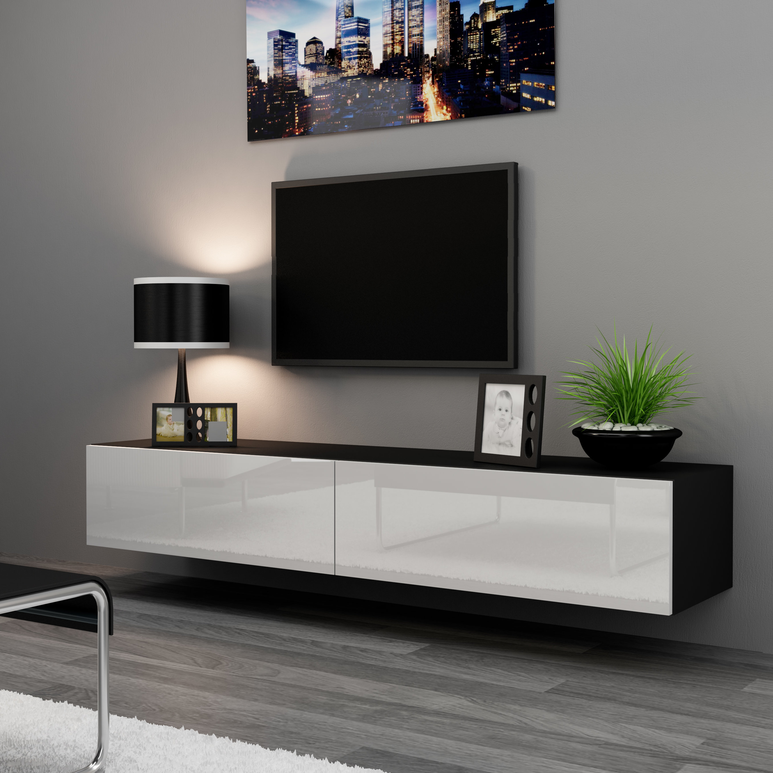 Modern & Contemporary High Gloss Black Tv Stand (View 6 of 20)