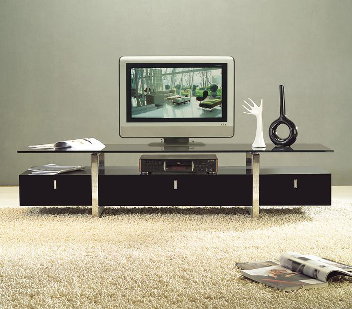 Modern Contemporary Tv Stands Inside Well Known Clear Lined Design Contemporary Brown Color Tv Stand With Glass Top (View 10 of 20)