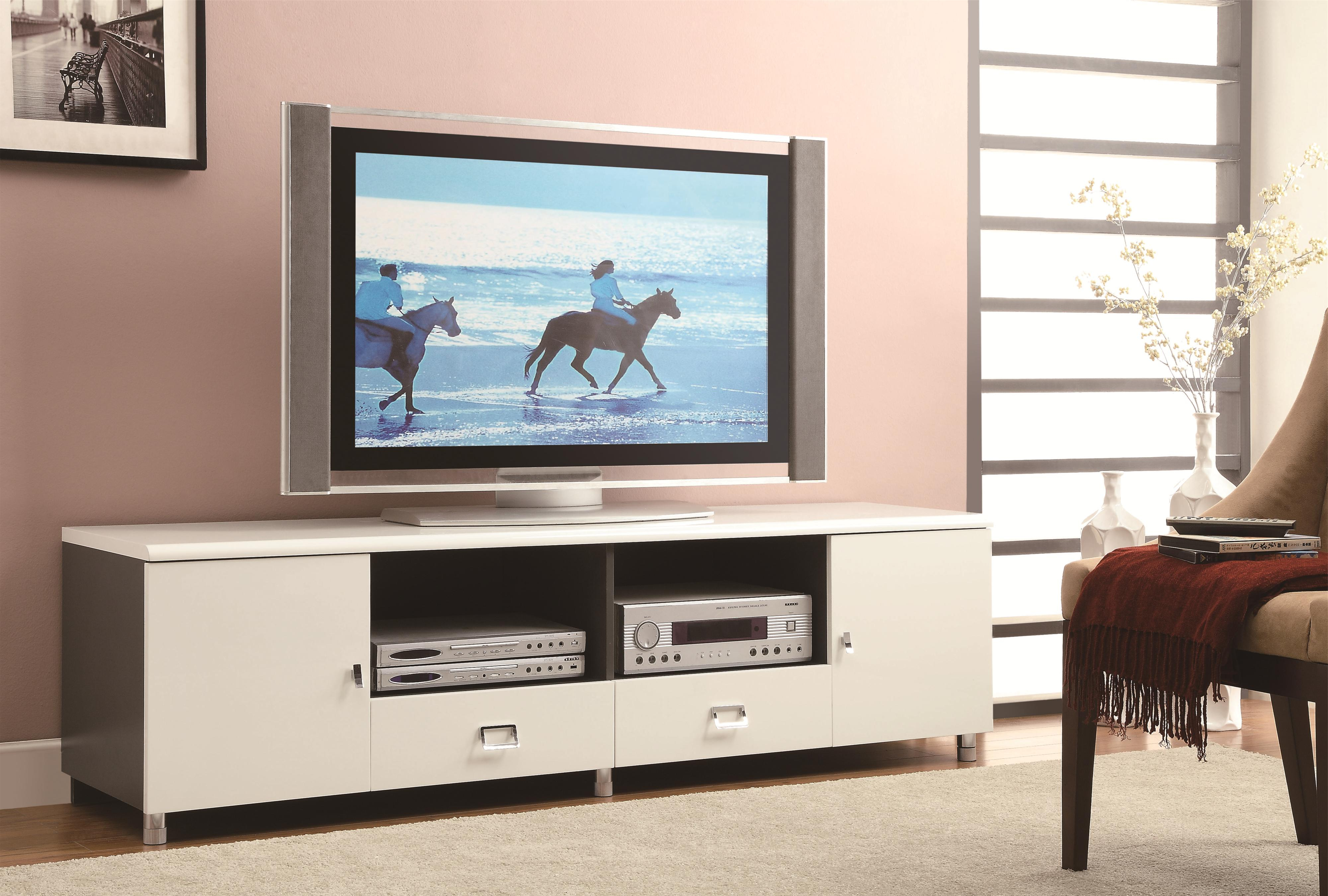 Modern Contemporary Tv Stands Throughout Fashionable Coaster Tv Stands 700910 Contemporary Tv Console With Chrome (View 12 of 20)