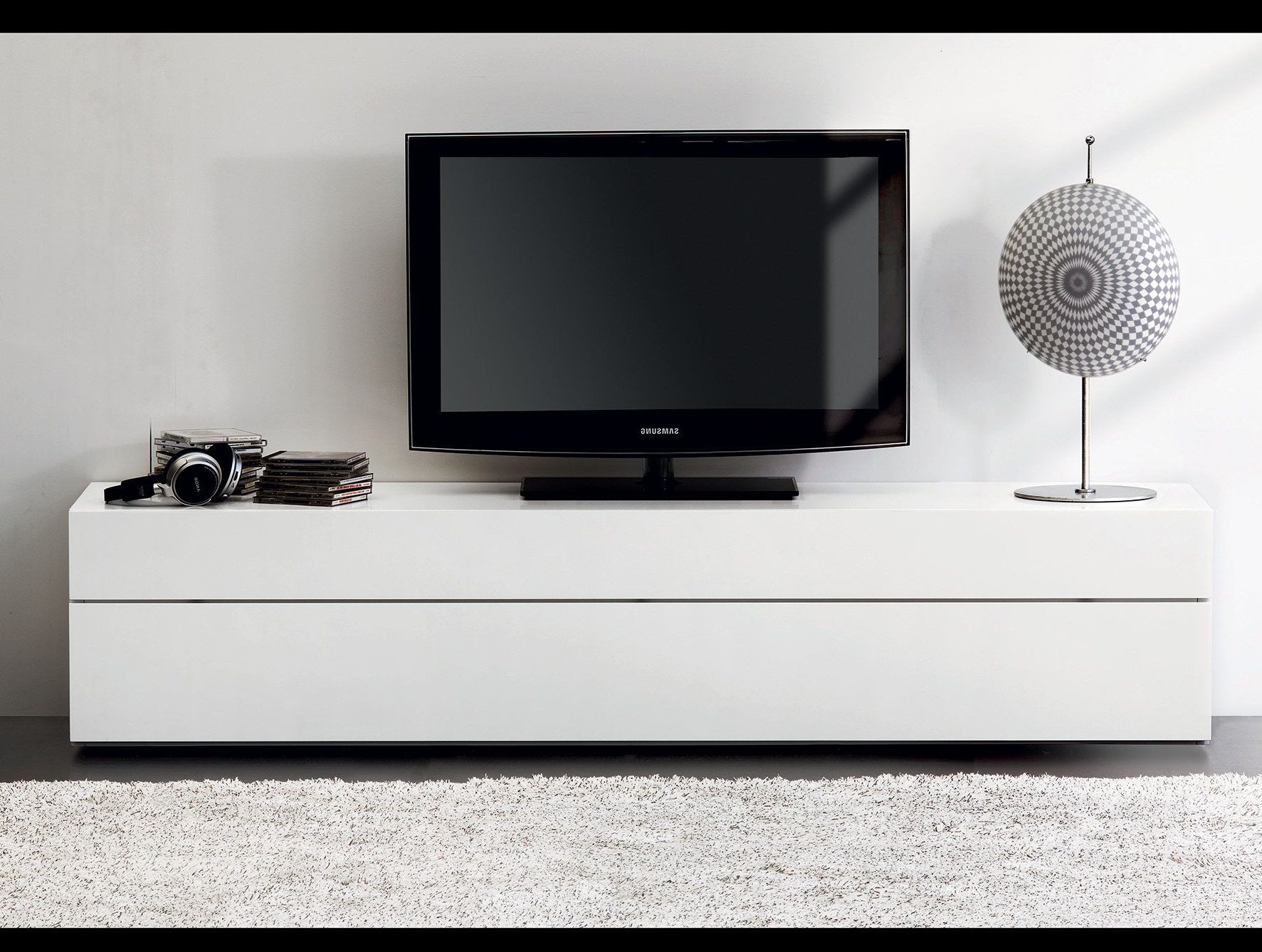 Modern Floating Tv Stand Entertainment Center White 60 Inch Small Regarding Popular Modern White Lacquer Tv Stands (View 9 of 20)