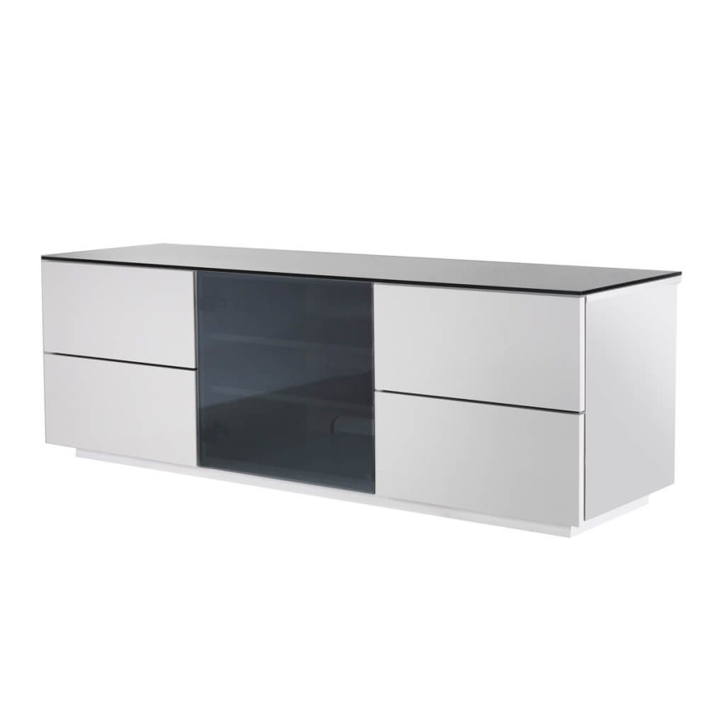 Modern Glass Tv Stands For Most Popular Furniture: Simple White Glass Tv Stand Featuring 4 Door Cabinets And (View 9 of 20)