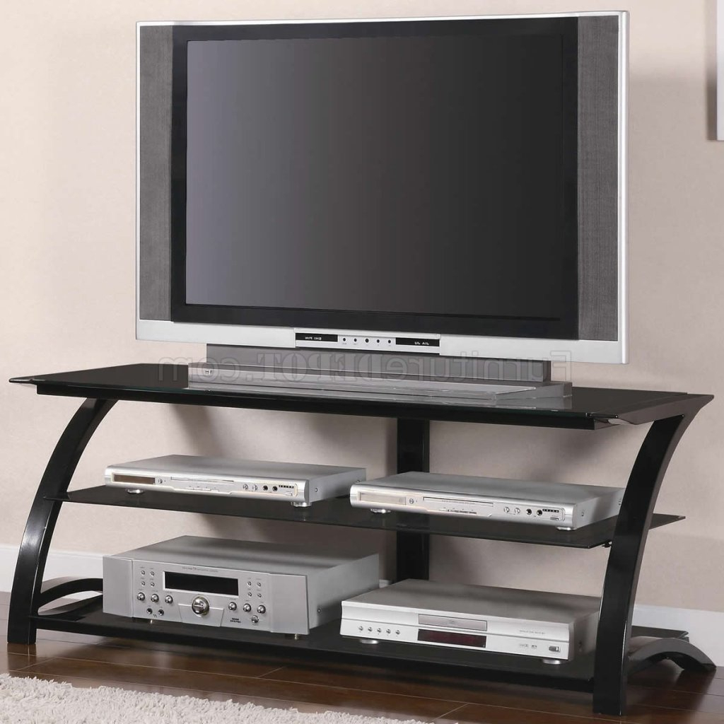 Modern Glass Tv Stands Regarding Most Current Black Tempered Glass & Metal Base Modern Tv Stand W/shelves (View 10 of 20)