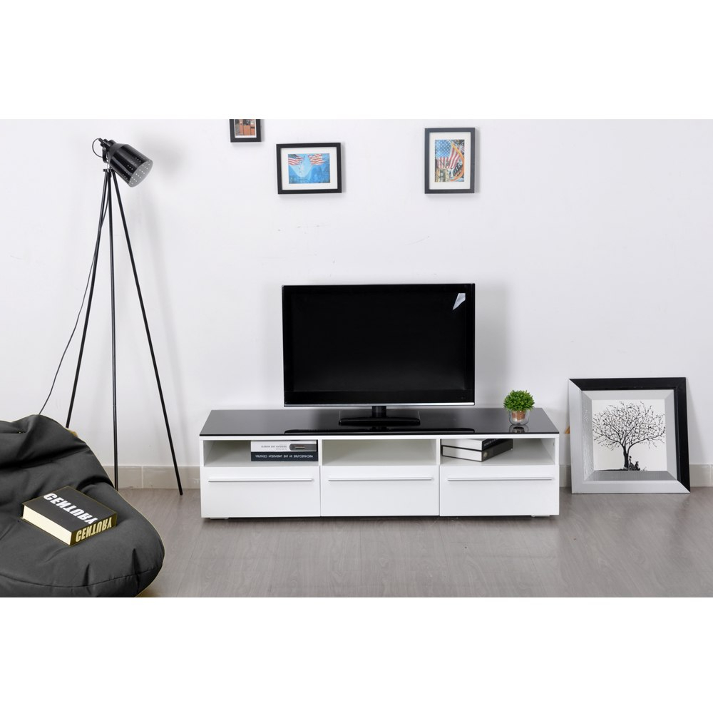 Modern Glass Tv Stands With Favorite Aingoo Modern Tv Stand White And Black Coffee Table Glass Tv Stand (View 11 of 20)
