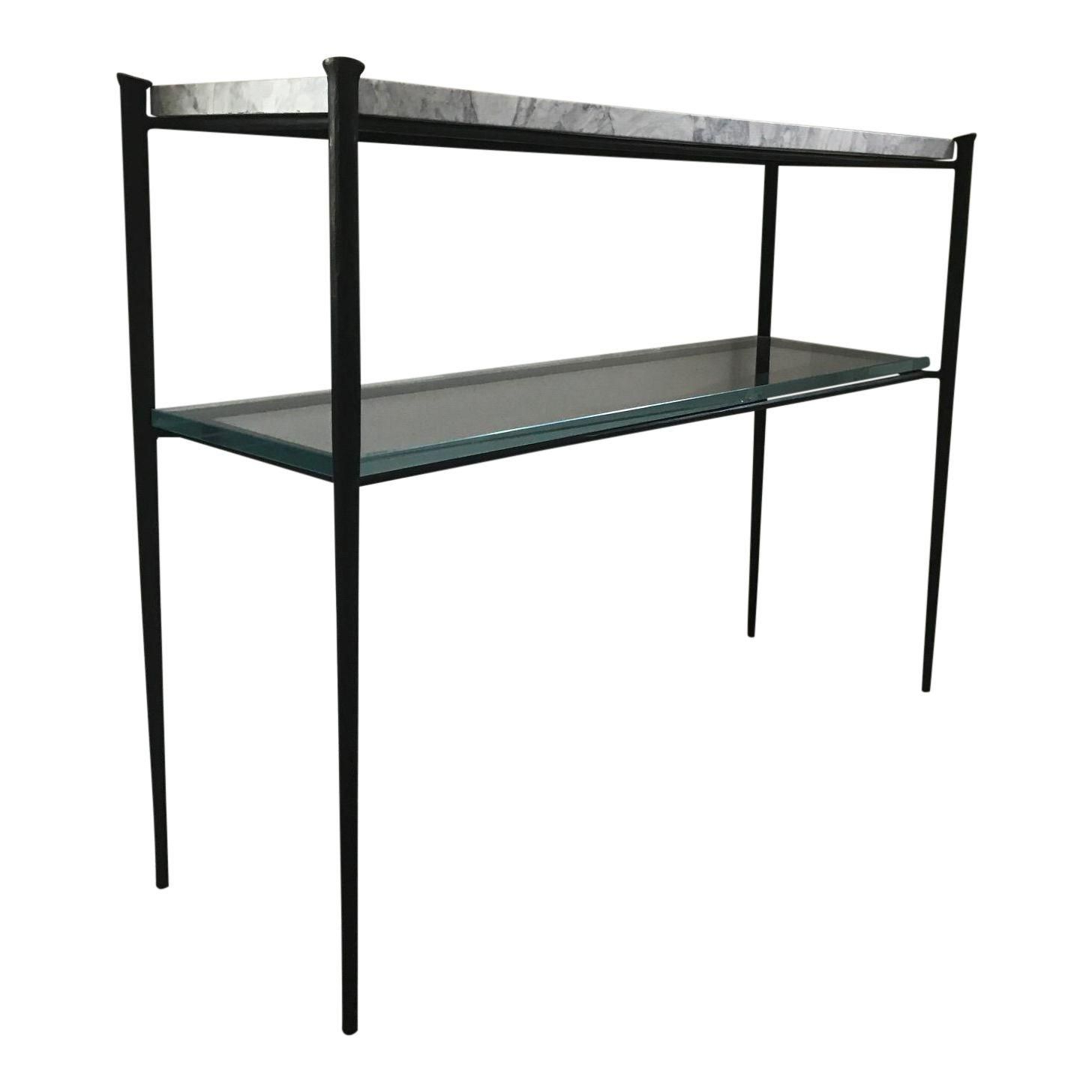 Modern Minimalist, Console Tables With Parsons Black Marble Top & Elm Base 48x16 Console Tables (View 14 of 20)