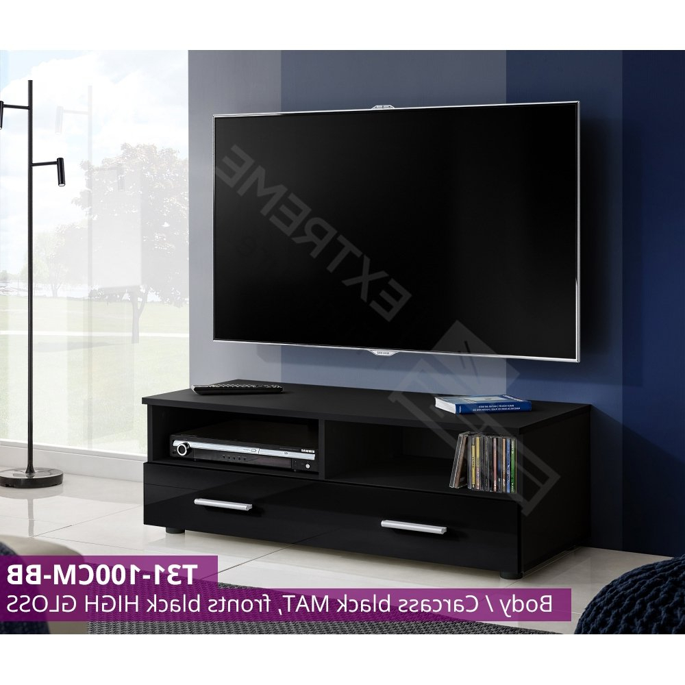 Modern Tv Cabinet – 100cm – Glossy Drawer Front – White Unit – 2 Within Most Recent Tv Unit 100cm (View 14 of 20)