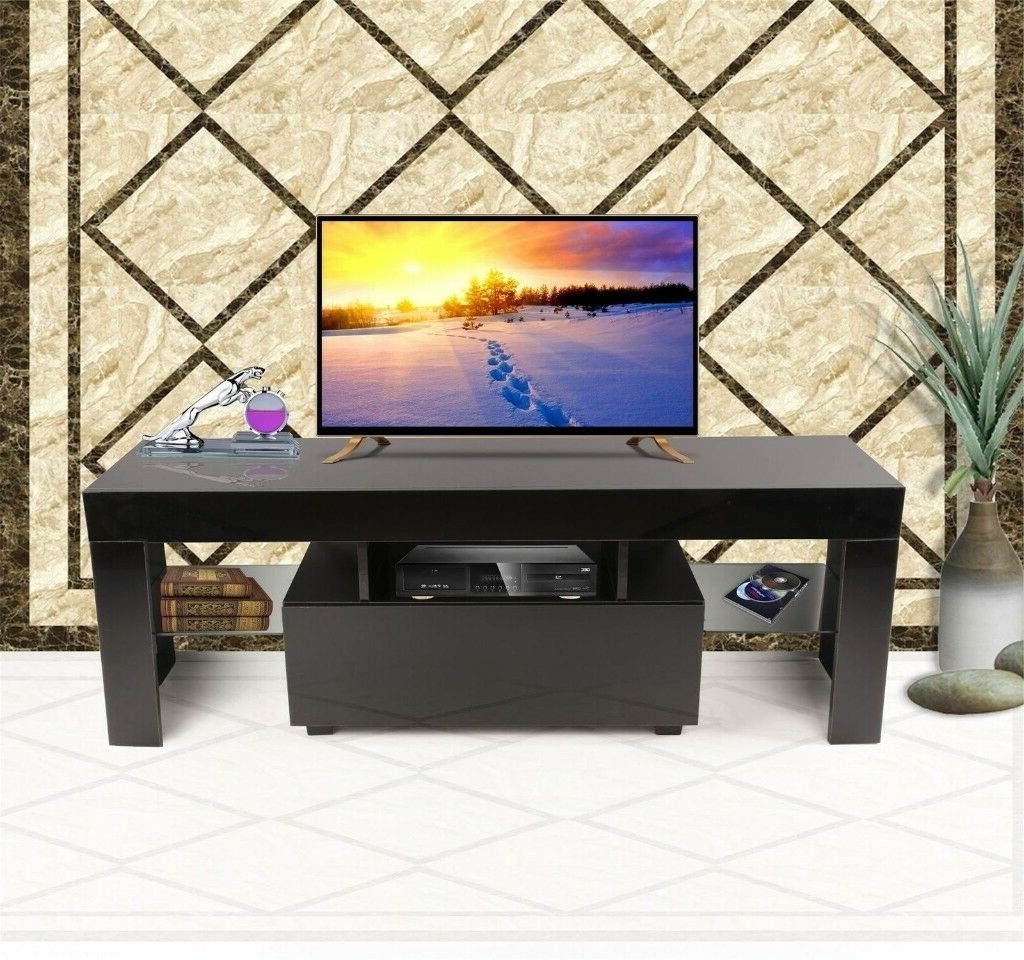 Modern Tv Cabinets For Flat Screens Within 2018 Modern Tv Cabinet White 130Cm Stand Unit Furniture High Gloss Rgb (View 9 of 20)