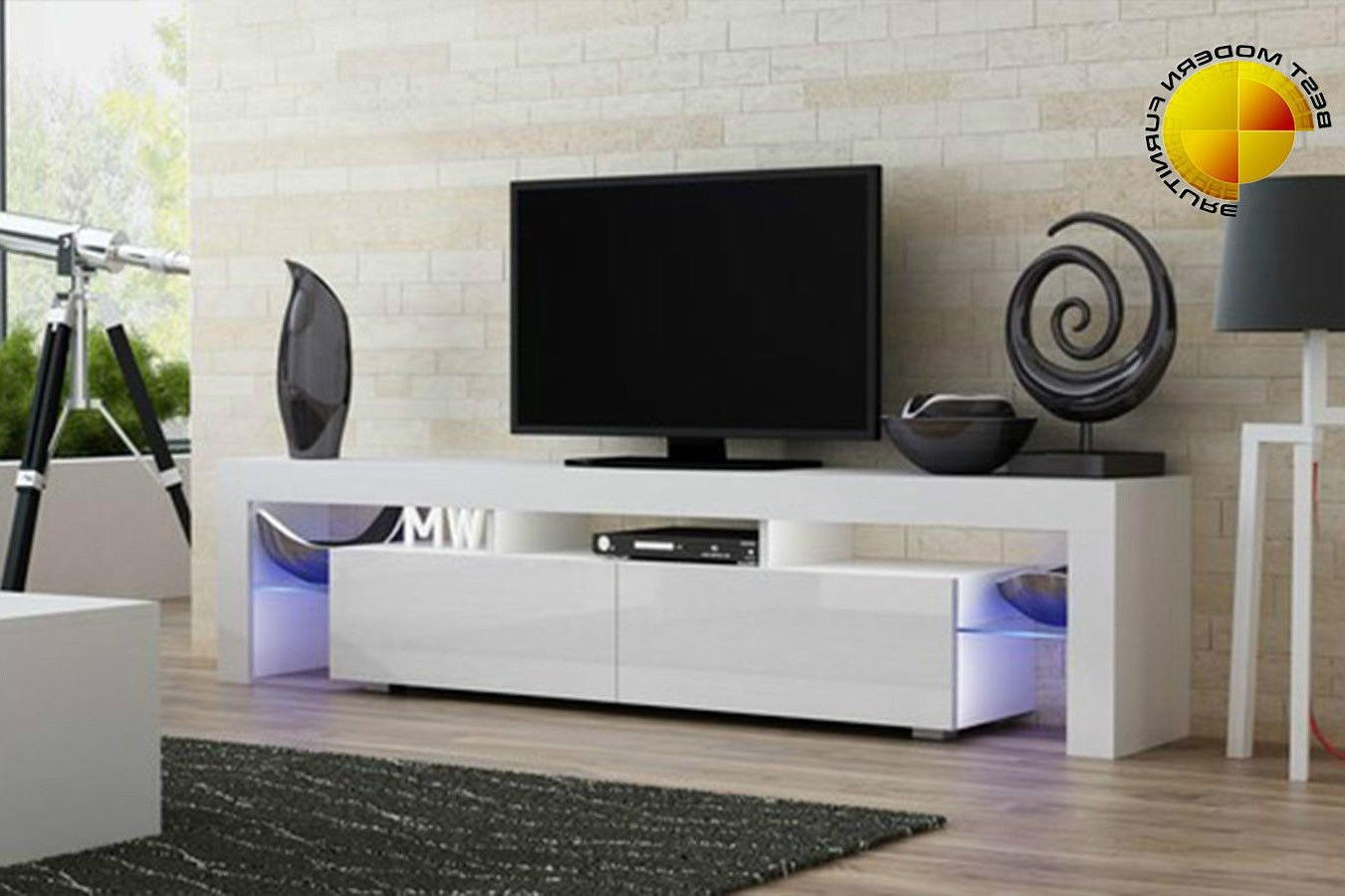 Modern Tv Stand 200Cm High Gloss Cabinet Free Rgb Led Lights Black Regarding 2017 White Contemporary Tv Stands (View 8 of 20)