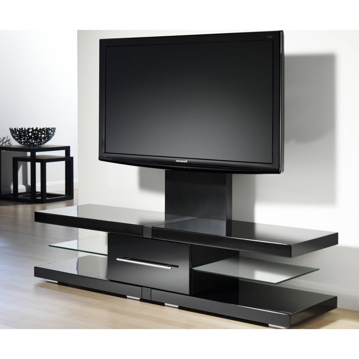 Modern Tv Stands For 60 Inch Tvs Throughout Popular Plateau Newport 62 Inch Corner Tv Stand In Black Walmart Pertaining (View 11 of 20)