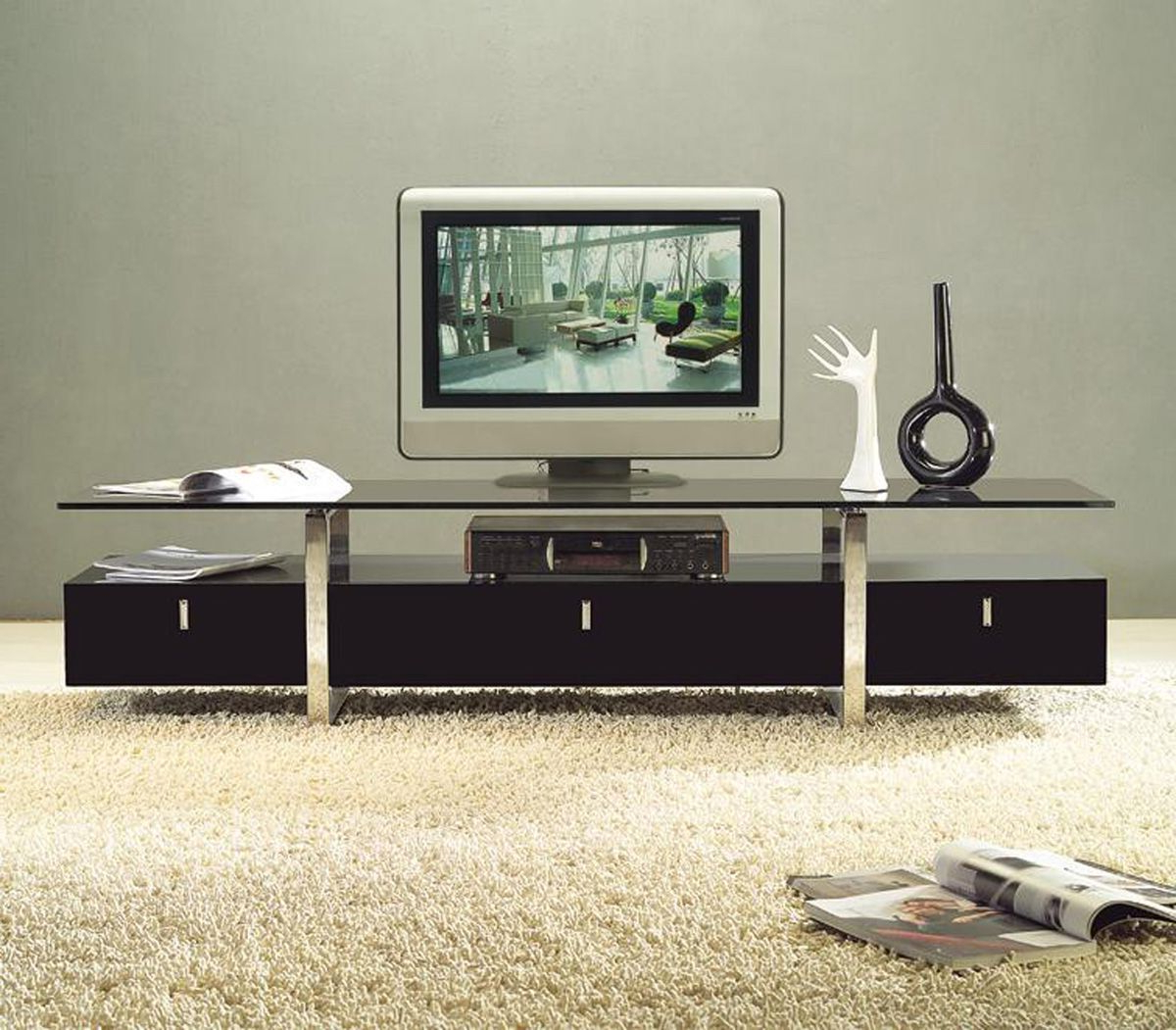 Modern Tv Stands For Flat Screens Inside Most Popular Clear Lined Design Contemporary Brown Color Tv Stand With Glass Top (View 9 of 20)