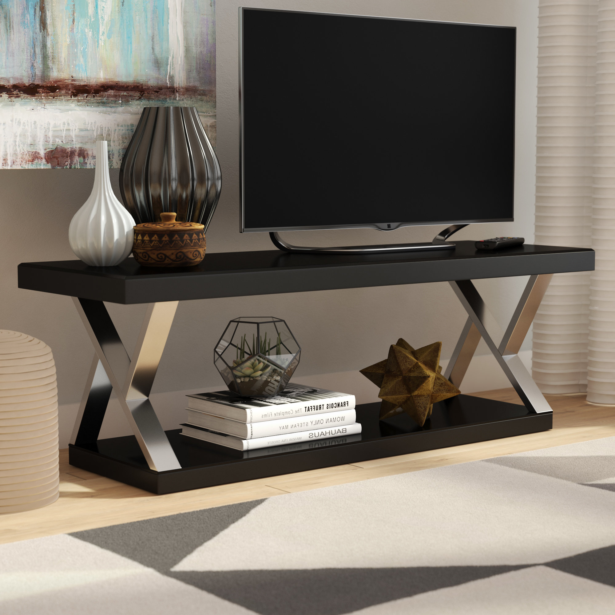 Modern Tv Stands Regarding Current Ivy Bronx Elmer Double V Design Modern Tv Stand For Tvs Up To (View 10 of 20)