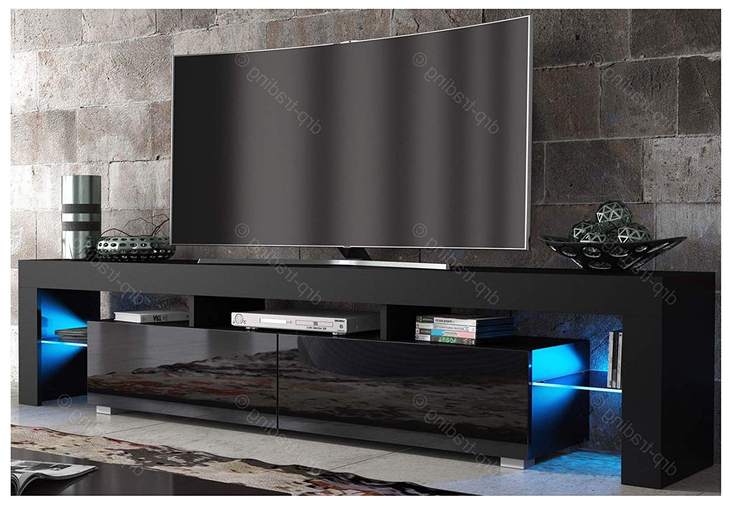 Modern Tv Unit 200Cm Cabinet Black Matt And Black High: Amazon.co (View 12 of 20)