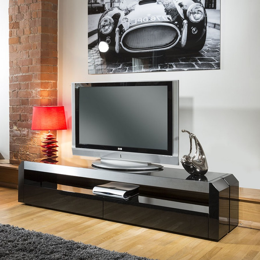 Modern Tv Units Regarding 2018 Modern Tv Cabinet / Entertainment Unit Black Gloss With Glass Top 701F (View 9 of 20)